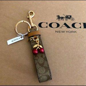 Authentic Coach signature cherry Charm Keychain